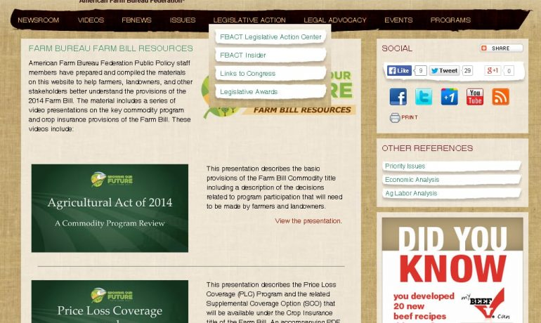 AFBF Farm Bill Recources Screenshot