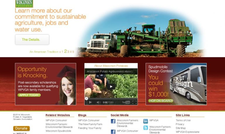 Wisconsin Potato Growers homepage screenshot