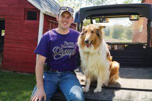 Derek Husmoen with Collie