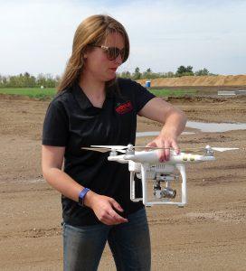 Lynn Dickman with drone