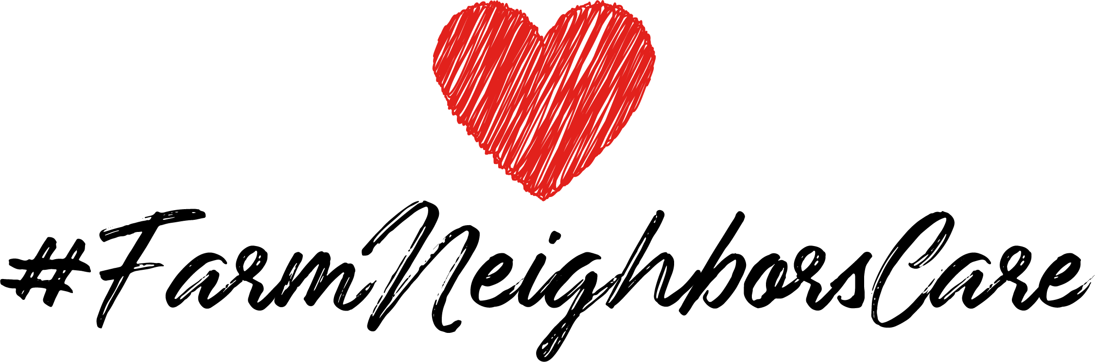 #farmneighborscare with a drawn heart