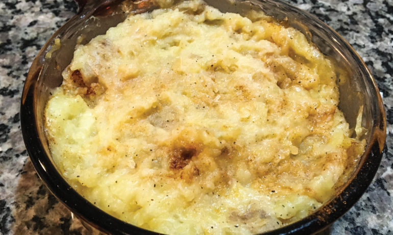 dish of cottage cheese mashed potatoes